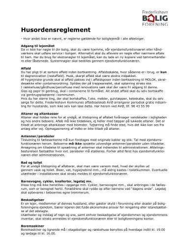 Husordensreglement - Frederikshavn Boligforening