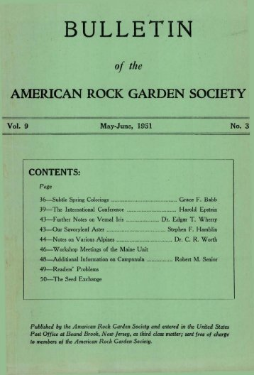 BULLETIN - North American Rock Garden Society