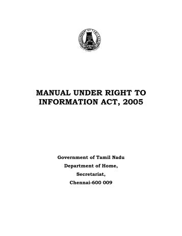 manual under right to information act, 2005 - Tamil Nadu Government