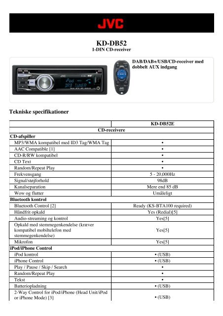 Tekniske specifikationer (pdf) - CARSound Bilstereo