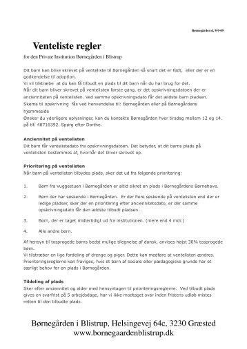 Venteliste regler - Børnegården Blistrup