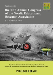 the 40th Annual Congress of the Nordic Educational Research ...