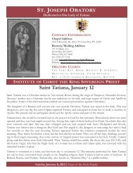 Saint Tatiana, January 12 - Institute of Christ the King Sovereign Priest