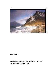 konsekvenser for reiseliv av et oljespill i lofoten - Statoil