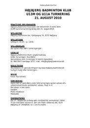 højbjerg badminton klub u13m og u11a ... - Sporttilmelding.dk