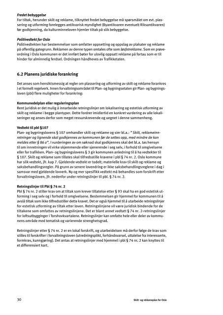 Skilt- og reklameplan for Oslo med vedtekt og juridisk bindende ...