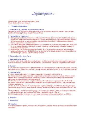 Indkaldelse til bestyrelsesmøde - Haderslev Sejl-Club