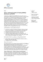Bilag 3 - Status udviklingsprojekter - Øhavsmuseet - marts 2013