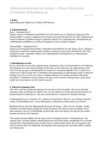 Sikkerhedsinstruks for sejlads – Elbæk Efterskole Friluftstur til ...