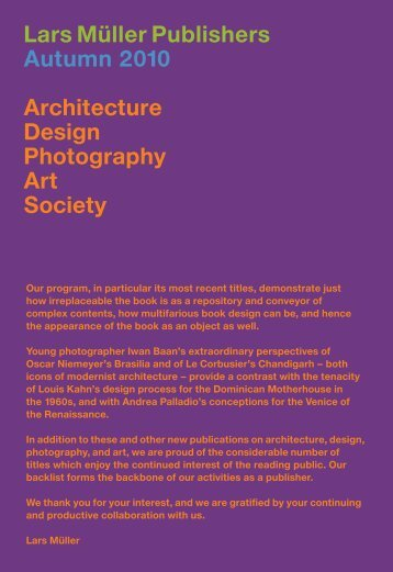 New T itles Architecture - Lars Müller Publishers