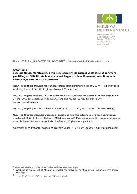 (nu Naturstyrelsen Roskildes) vedtagelse af kommune