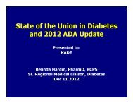State of the Union in Diabetes and 2012 ADA Update - Kadenet.org