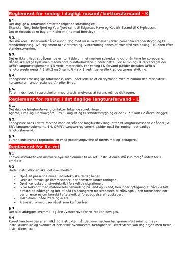 Reglement for roning i dagligt rovand/korttursfarvand - K Reglement ...