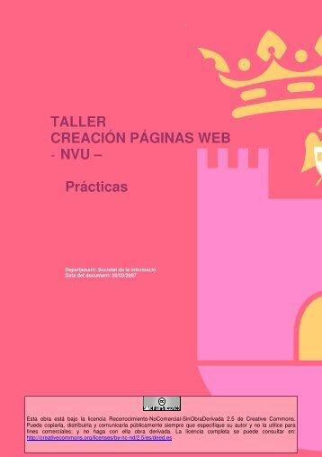 TALLER CREACIÓN PÁGINAS WEB - NVU – Prácticas