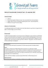 Referat af netværksmøde i Gravid på Tværs - 22. september 2010