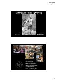 Cykling; præstation og træning