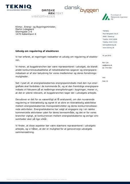 Læs brevet til ministeren - Foreningen af Rådgivende Ingeniører F.R.I.