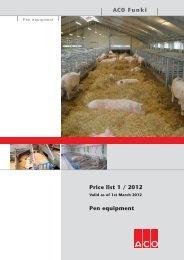 ACO Funki Price list 1 / 2012 Pen equipment