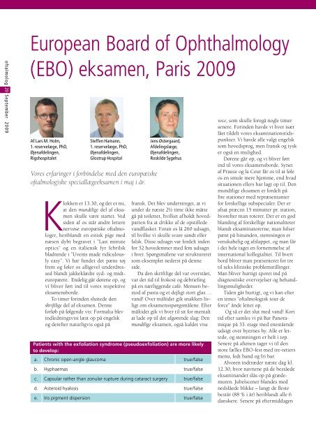 European Board of Ophthalmology (EBO) eksamen ... - Oftalmolog