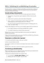 BULL- Veiledning for artikkelbidrag til nettsiden - BOBY