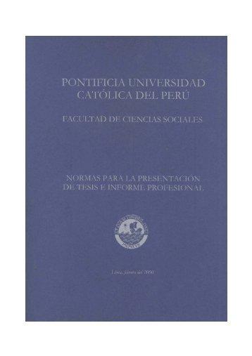 Descargar normas para la presentación de Tesis. - Pontificia ...