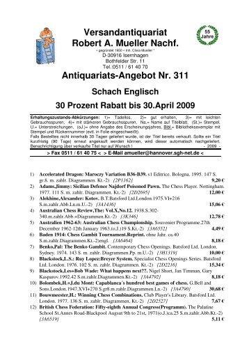 Antiquariats Angebot Nr 311 Schach Englisch 30 Antikbuch24