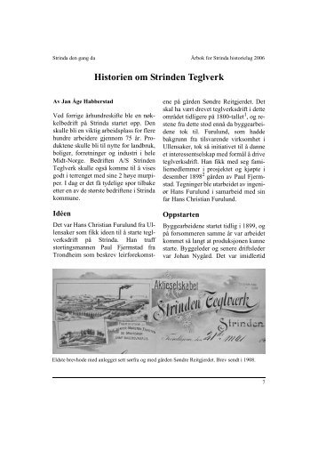 Historien om Strinden Teglverk - Strinda historielag