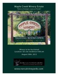www.norcalvineyards.com Maple Creek Winery Estate