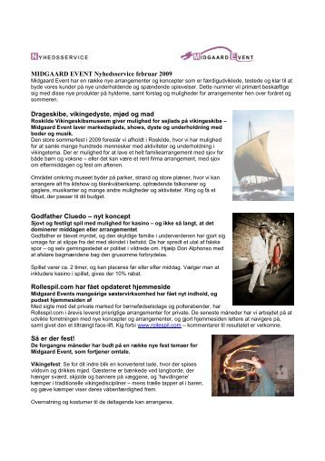 MIDGAARD EVENT Nyhedsservice februar 2009 Drageskibe ...