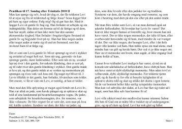 Prædiken til 17. Søndag efter Trinitatis 2010 II Man ... - Lumby sogn