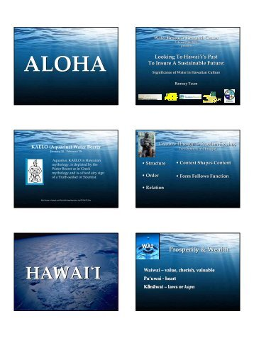 HAWAI ̒I - Hawaii Water Resources Research Center