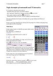 Nogle eksempler på matematik med TI interactive - Uvmat