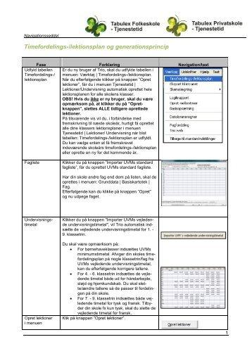 Timefordelingsplan-generationsprincip - Tabulex