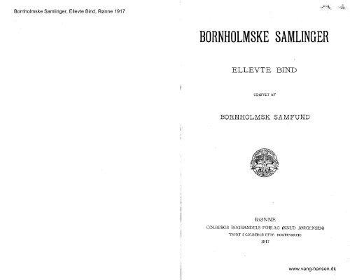 Bornholmske Samlinger - Bind 11 - 1917 - Bornholms Historiske ...