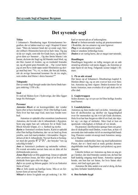 Det syvende segl af Ingmar Bergman (pdf)