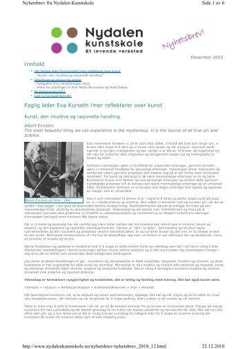 Innhold Faglig leder Eva Kurseth Imer reflekterer over kunst Side 1 ...