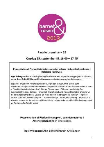 Parallelt seminar – 1B Onsdag 25. september Kl. 16.00 – 17.45
