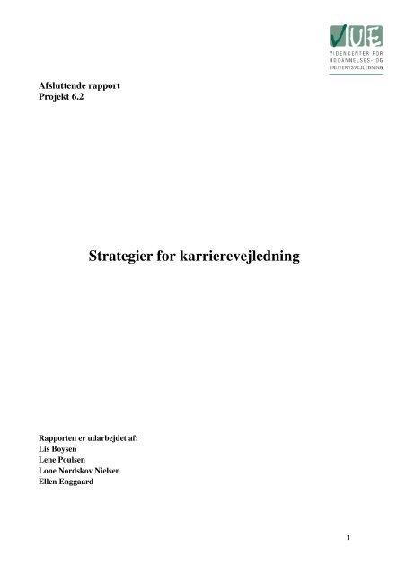 Strategier for karrierevejledning - Videncenter for uddannelses- og ...