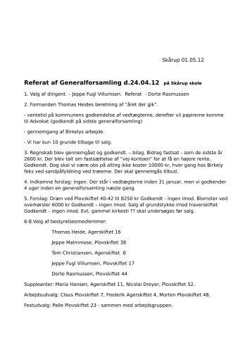Referat af Generalforsamling d.24.04.12 på Skårup skole - Kiærhøy