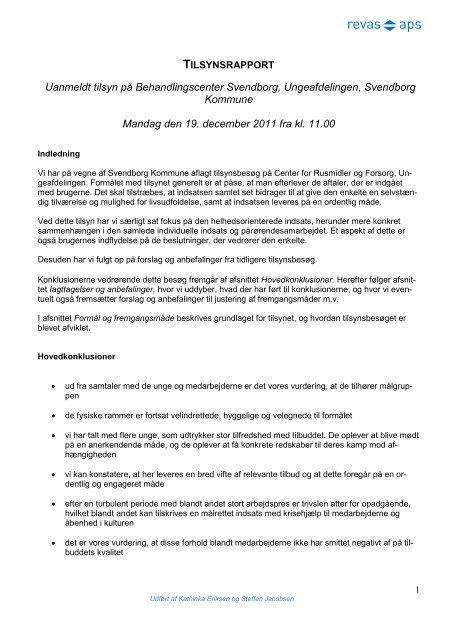 Seneste tilsynsrapport Behandlingscenter Svendborg