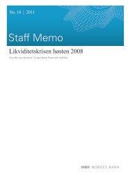 Likviditetskrisen høsten 2008 (Norges Bank Staff Memo 16/2011)