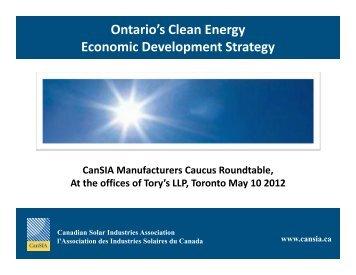 Ontario's Clean Energy Economic Development Strategy - Naylor