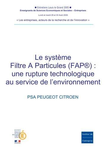 Le système Filtre A Particules - Institut de l'entreprise