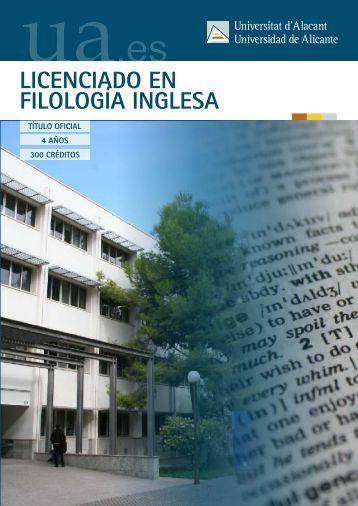 LICENCIADO EN FILOLOGÍA INGLESA - Universidad de Alicante
