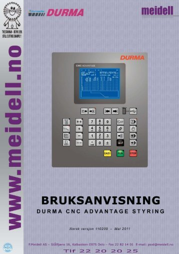 P. Meidell AS - Bruksanvisning for Durma CNC Advantage styring ...