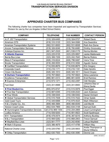 approved charter bus companies - LAUSD Transportation Services ...