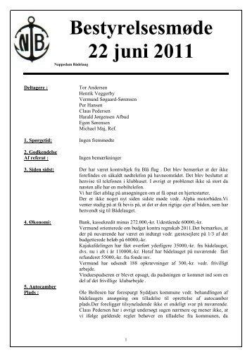 Bestyrelsesmøde 22 juni 2011 - Nappedam Bådelaug