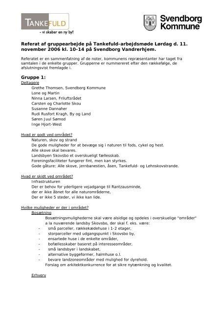 Referat af gruppearbejde på Tankefuld-arbejdsmøde Lørdag d. 11 ...