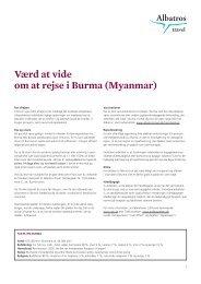 Værd at vide om at rejse i Burma (Myanmar) - Albatros Travel