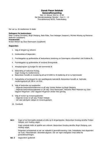 2010-02-14 Generalforsamling - Dansk Pæon Selskab